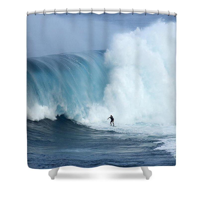 Surf Shower Curtain featuring the photograph Surfing Jaws 4 by Bob Christopher