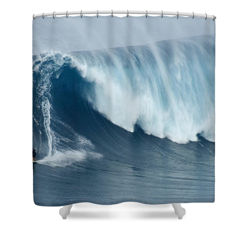 Surf Shower Curtain featuring the photograph Surfing Jaws 5 by Bob Christopher