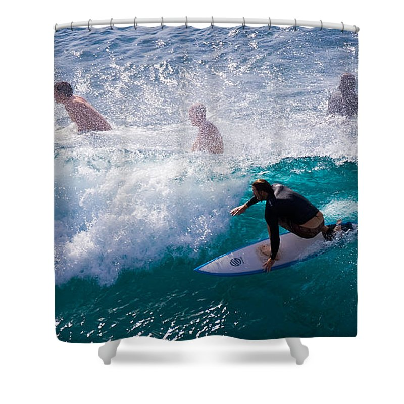 3scape Photos Shower Curtain featuring the photograph Surfing Maui by Adam Romanowicz