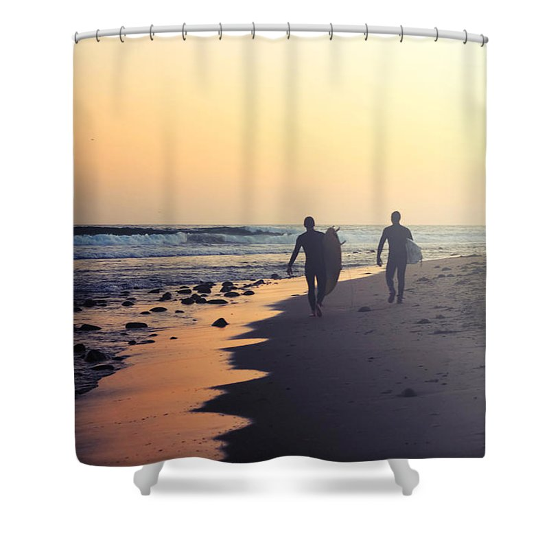 Water's Edge Shower Curtain featuring the photograph Surfing Rincon Point Surfers Beach by Amparo E. Rios