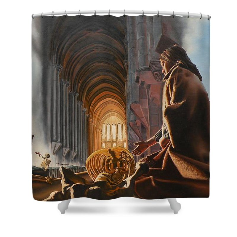 Surreal Shower Curtain featuring the painting The Cathedral by Dave Martsolf