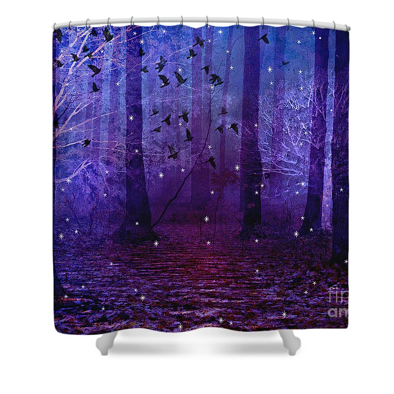 Purple Surreal Nature Shower Curtain Featuring The Photograph Fantasy Starry Night Woodlands