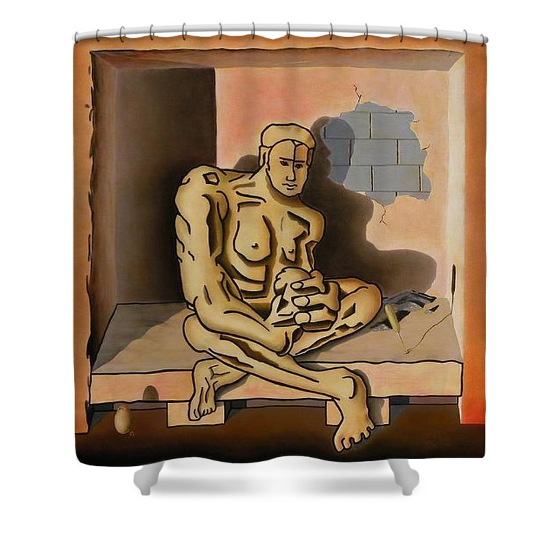 Surreal Shower Curtain featuring the painting Surreal Portents Of Genius by Dave Martsolf
