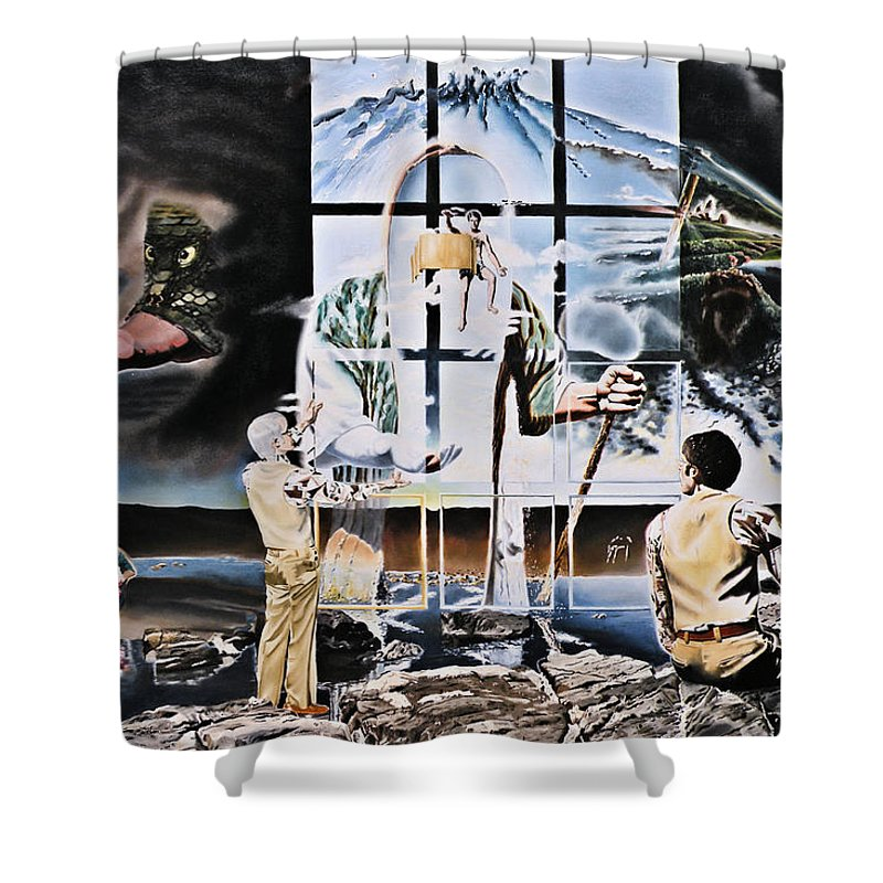 Surreal Shower Curtain featuring the painting Surreal Windows Of Allegory by Dave Martsolf