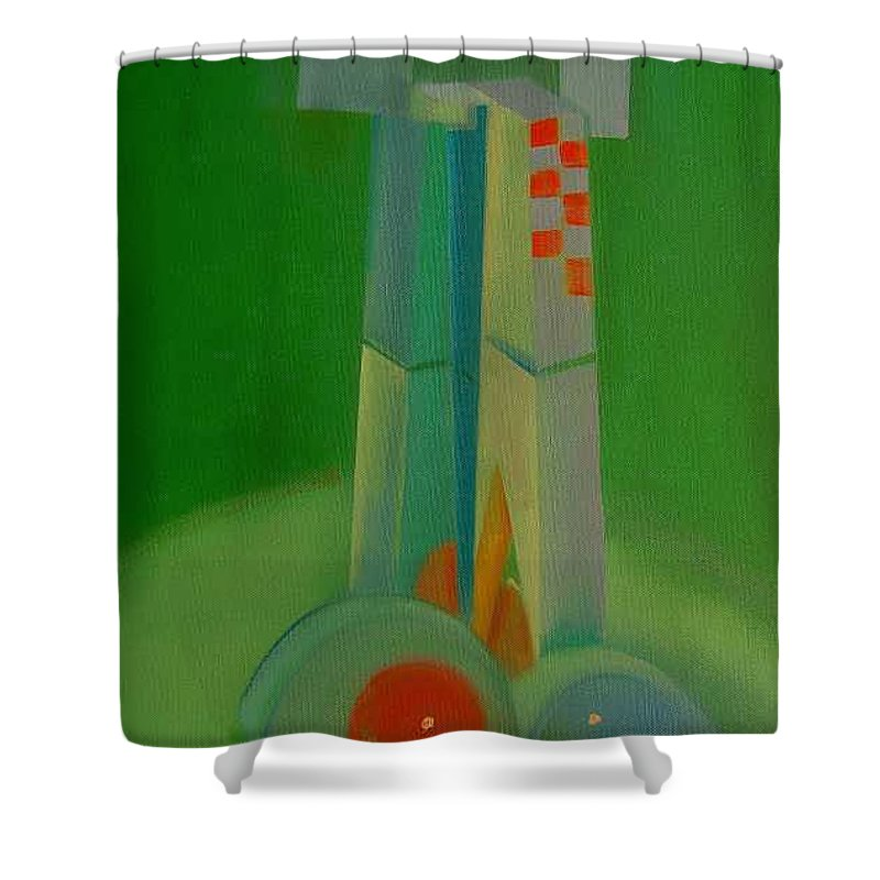 Cubist View Of Figure Shower Curtain featuring the painting Survivors by Charles Stuart