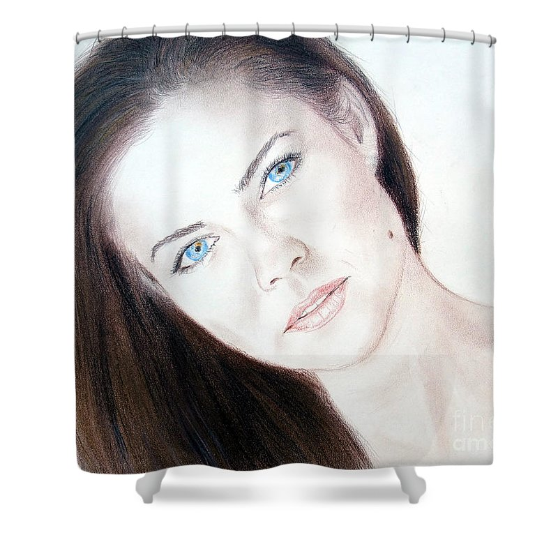 Model Shower Curtain featuring the drawing Actress And Model Susan Ward Blue Eyed Beauty With A Mole by Jim Fitzpatrick