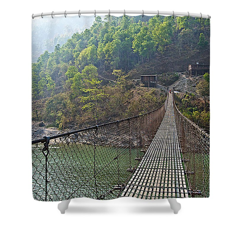 Suspension Bridge Over The Seti River In Nepal Shower Curtain featuring the photograph Suspension Bridge Over The Seti River In Nepal by Ruth Hager