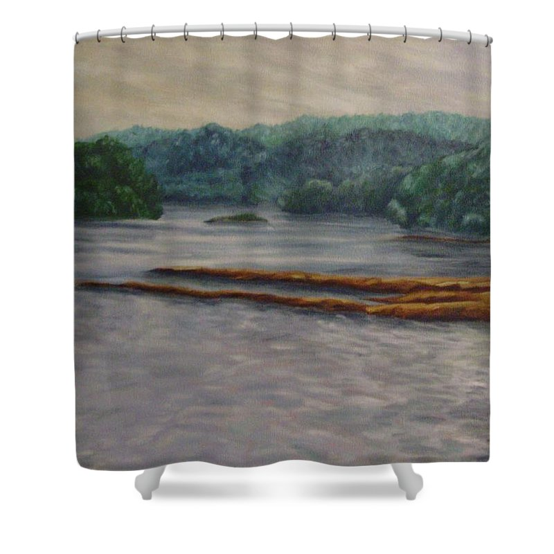 Landscape Shower Curtain featuring the painting Susquehanna River At Saginaw Pa by Joann Renner