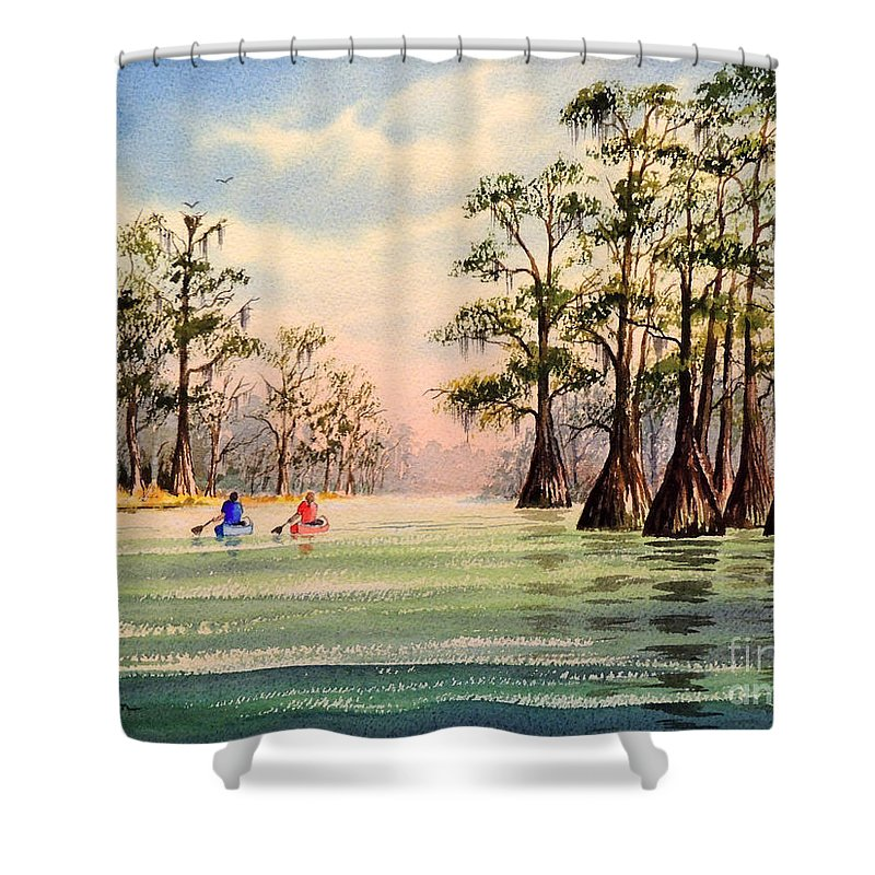 Suwannee River Shower Curtain featuring the painting Suwannee River by Bill Holkham