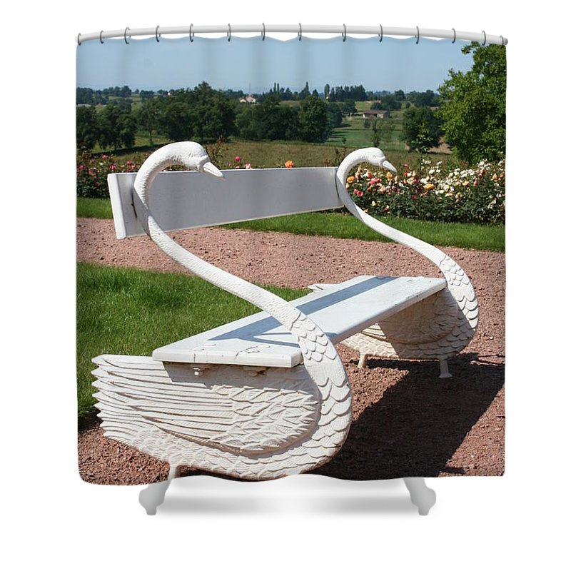 Swan Shower Curtain featuring the photograph Swan Bench by Christiane Schulze Art And Photography