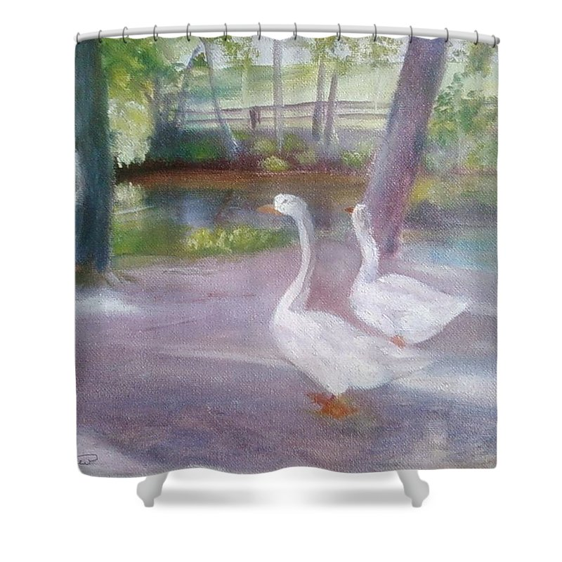 Swans Shower Curtain featuring the painting Swans At Smithville Park by Sheila Mashaw
