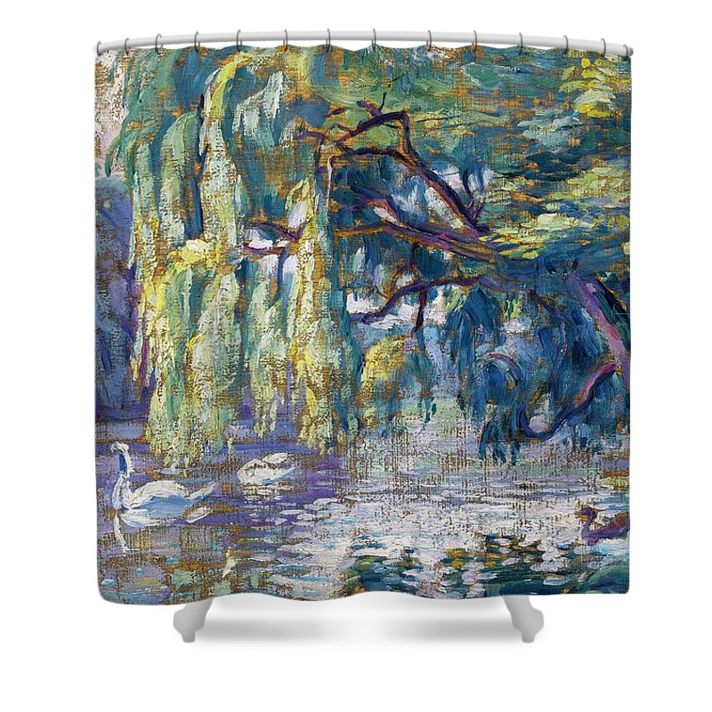 Henri-edmond Cross Shower Curtain featuring the painting Swans Family . Forest Of Boulogne by Henri-Edmond Cross