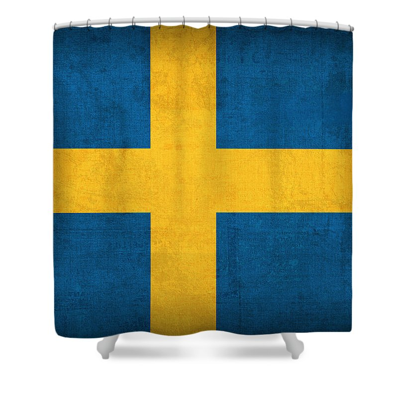 Sweden Flag Vintage Distressed Finish Shower Curtain featuring the mixed media Sweden Flag Vintage Distressed Finish by Design Turnpike