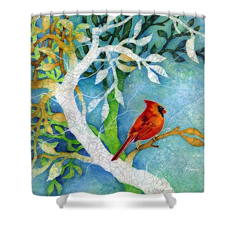 Cardianl Shower Curtain featuring the painting Sweet Memories I by Hailey E Herrera