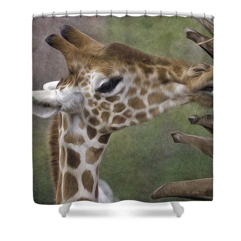 Giraffe Shower Curtain featuring the photograph Sweet Palm Pixelated by James Ekstrom