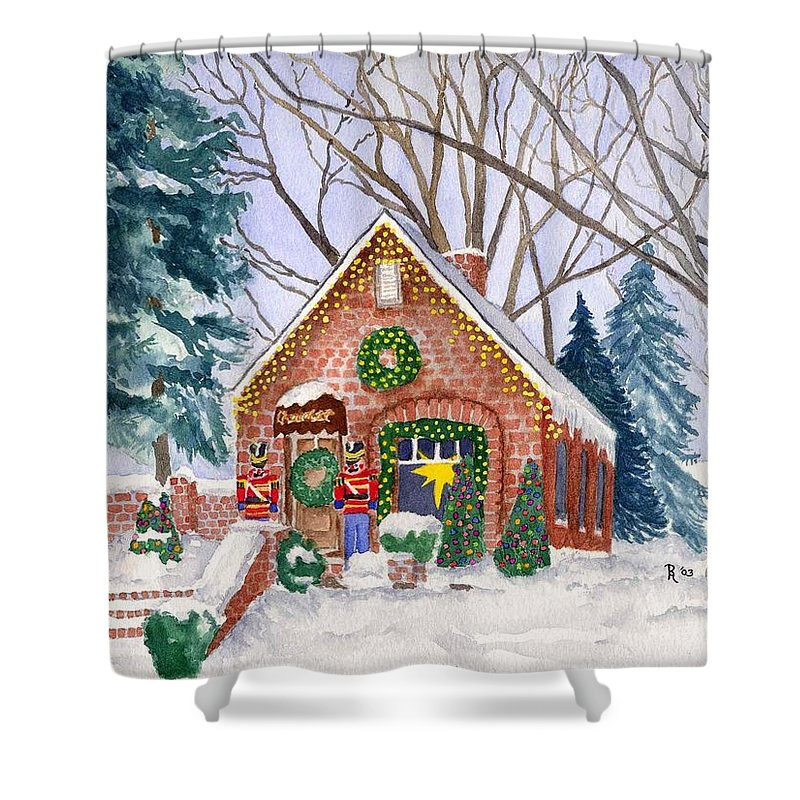 Winter Shower Curtain featuring the painting Sweet Pierre's Chocolate Shop by Rhonda Leonard