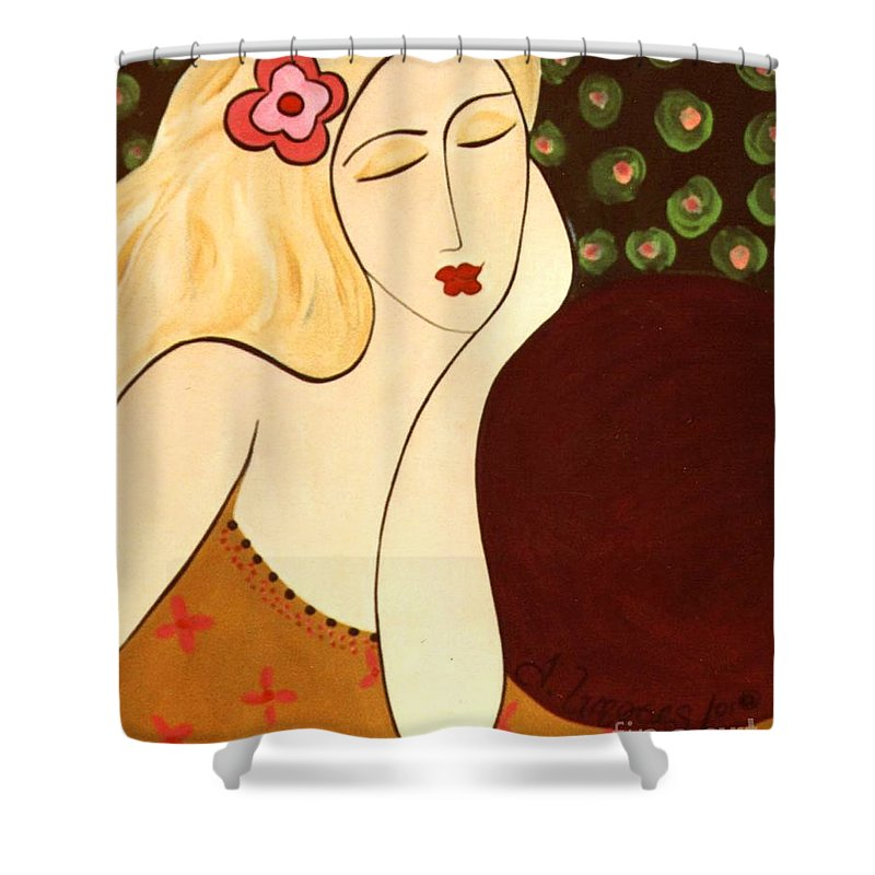 #female #figurative #floral Shower Curtain featuring the painting Sweet Sixteen by Jacquelinemari