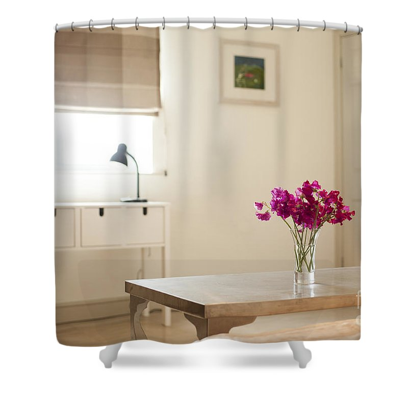 Area Shower Curtain featuring the photograph Sweetpea Table by Anne Gilbert