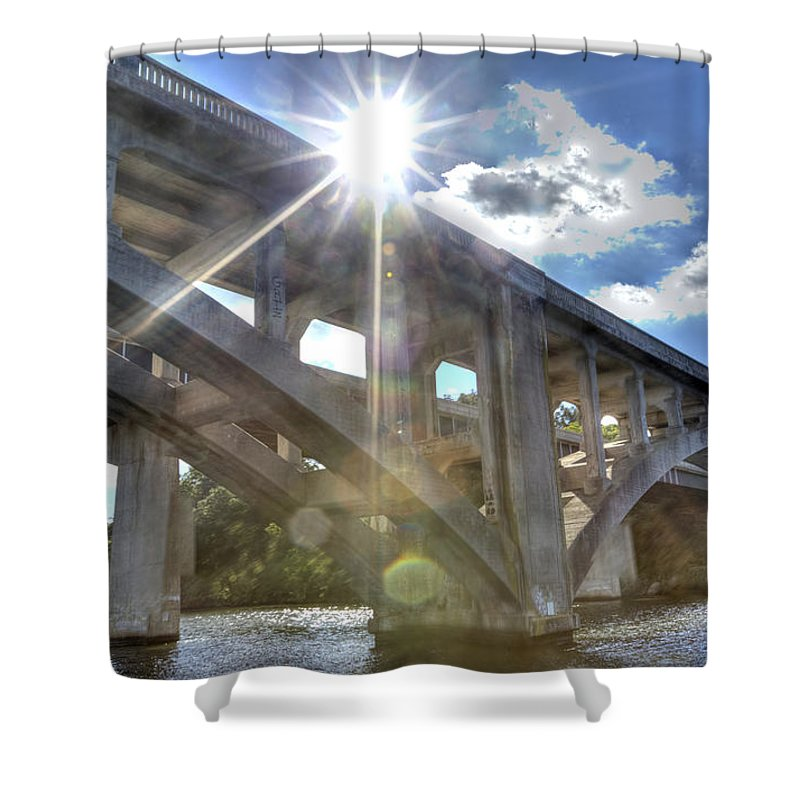 Lake Shower Curtain featuring the photograph Swift Island Bridge 1 by Jackie Frick Smith