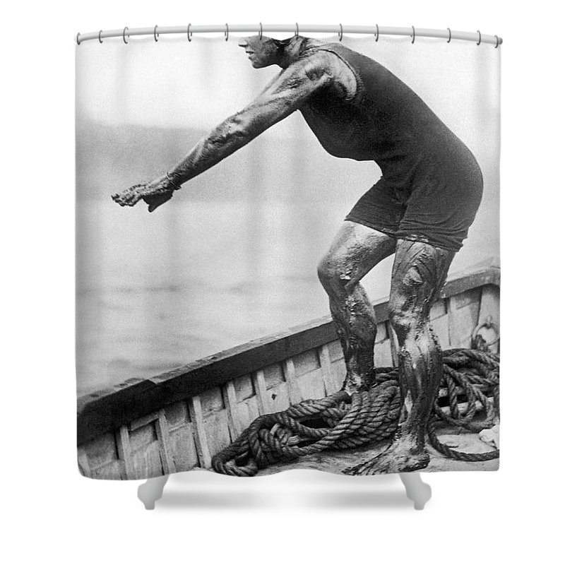 1 Person Shower Curtain featuring the photograph Swimmer Clemington Corson by Underwood Archives