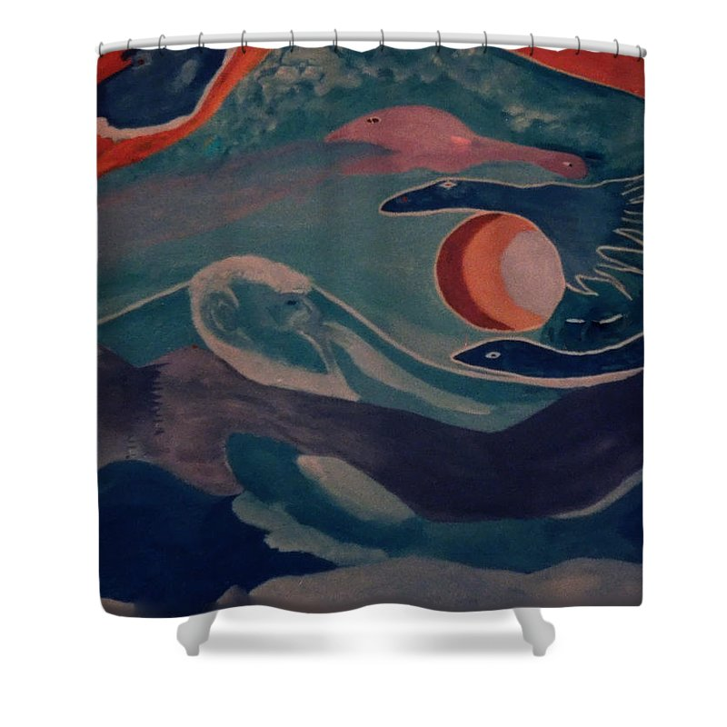 Colette Shower Curtain featuring the painting Swimmers by Colette V Hera Guggenheim