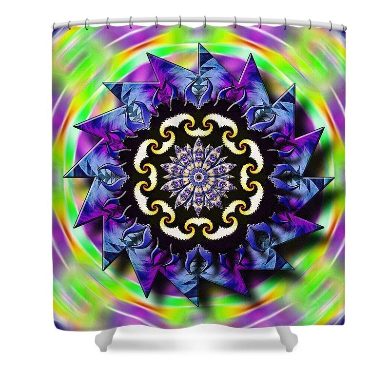 Sacredlife Mandalas Shower Curtain featuring the drawing Swirling Crown by Derek Gedney