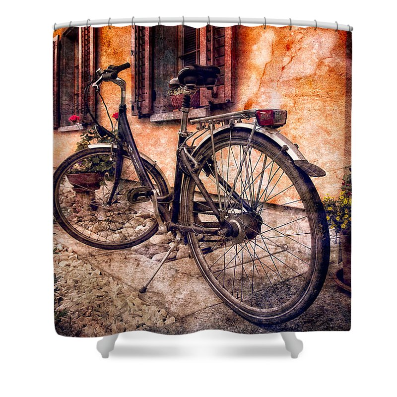 Barn Shower Curtain featuring the photograph Swiss Bicycle by Debra and Dave Vanderlaan