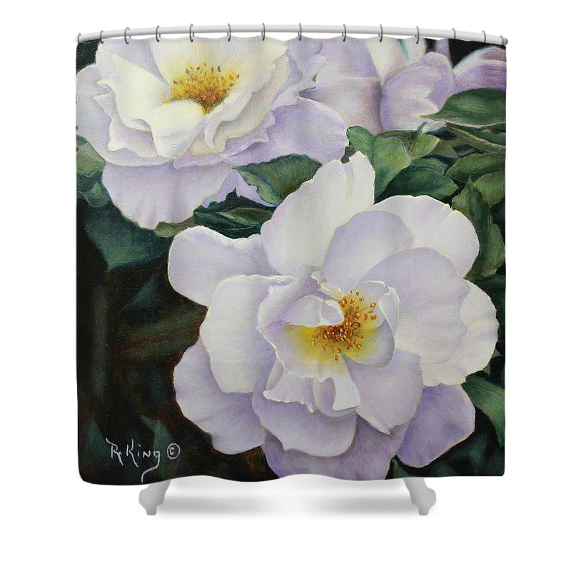 Roena King Shower Curtain featuring the painting Sydneys Rose Oil Painting by Roena King