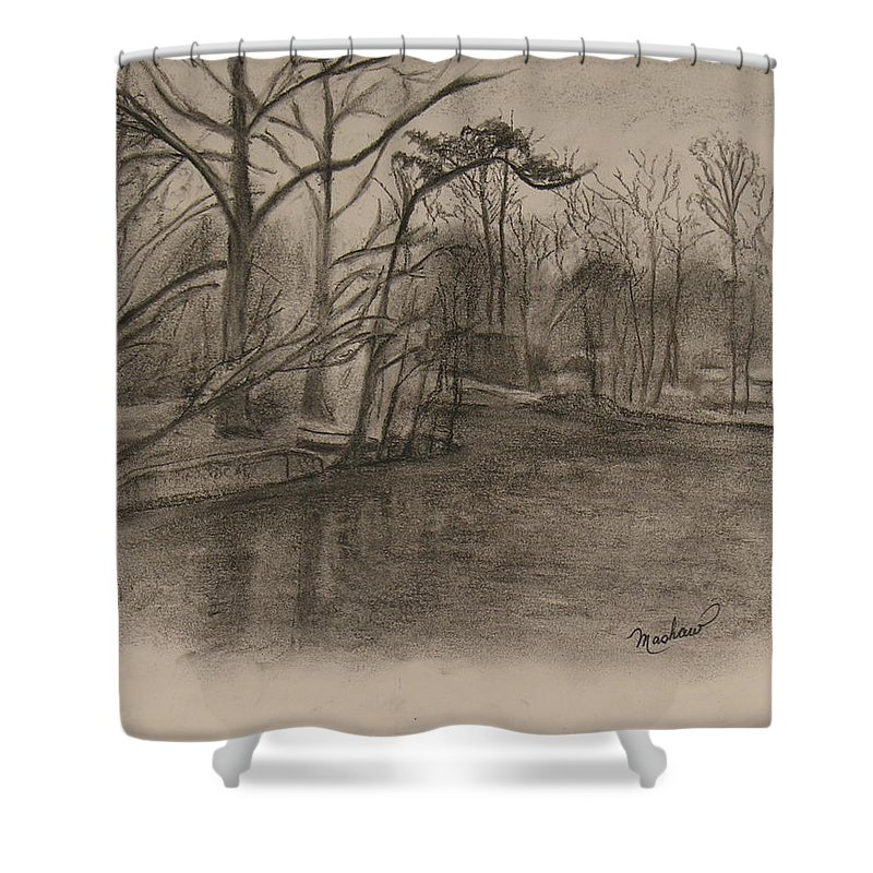 Sylvan Lake Shower Curtain featuring the painting Sylvan Lake Plein Aire by Sheila Mashaw