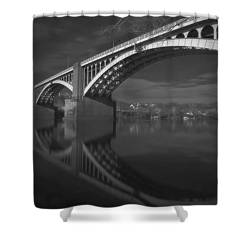 40th Street Bridge Shower Curtain featuring the photograph Symmetry by Jay Ressler