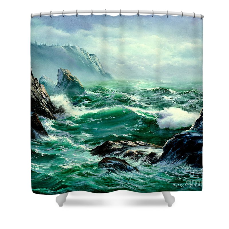 Seascapes Shower Curtain featuring the painting Symphony by Sharon Abbott-Furze