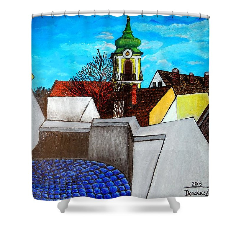 City Shower Curtain featuring the painting Szentendre - View From The Castlehill by Zsuzsa Doszkocs