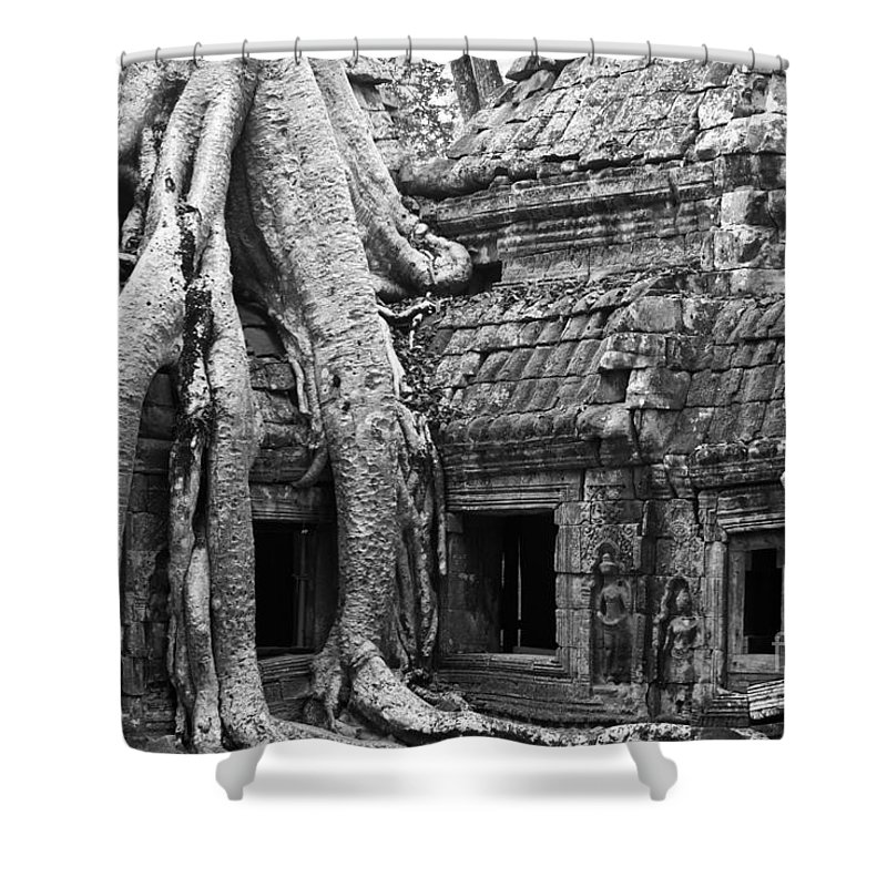 Cambodia Shower Curtain featuring the photograph Ta Prohm Roots And Stone 01 by Rick Piper Photography