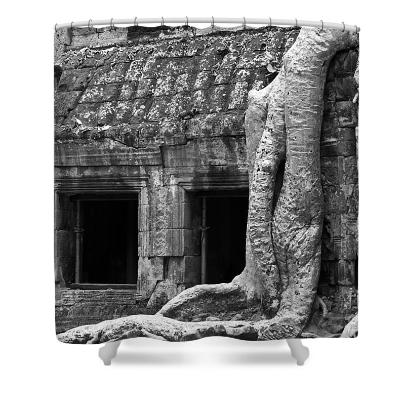 Cambodia Shower Curtain featuring the photograph Ta Prohm Roots And Stone 02 by Rick Piper Photography