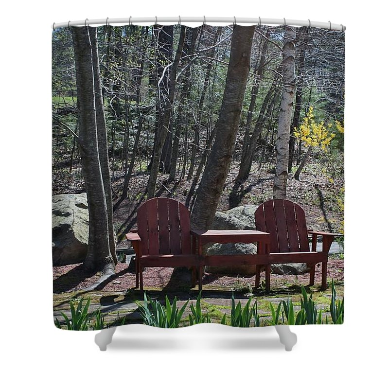 Chairs Shower Curtain featuring the photograph Table For Two by Barbara S Nickerson