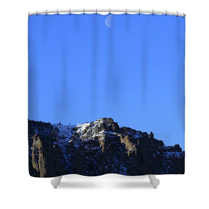 Table Mountain Shower Curtain featuring the photograph Table Mountain And Moon  #0562 by J L Woody Wooden
