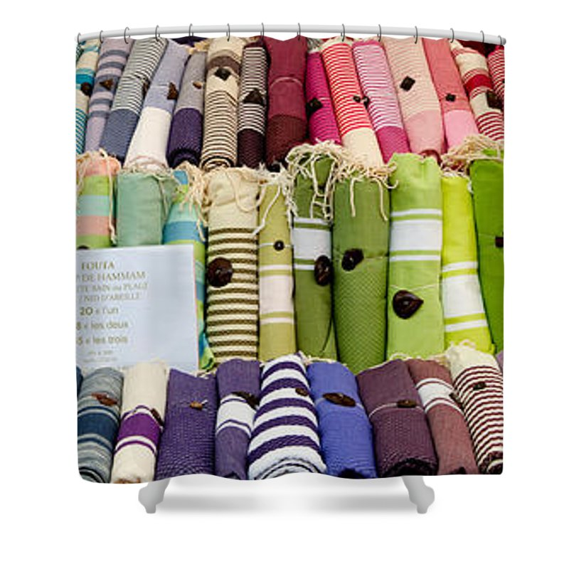 Photography Shower Curtain featuring the photograph Tablecloths For Sale At A Market Stall by Panoramic Images
