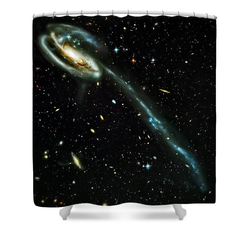 Universe Shower Curtain featuring the photograph Tadpole Galaxy by Jennifer Rondinelli Reilly - Fine Art Photography