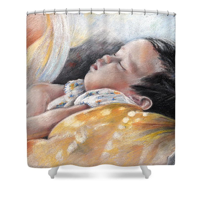 Travel Shower Curtain featuring the painting Tahitian Baby by Miki De Goodaboom
