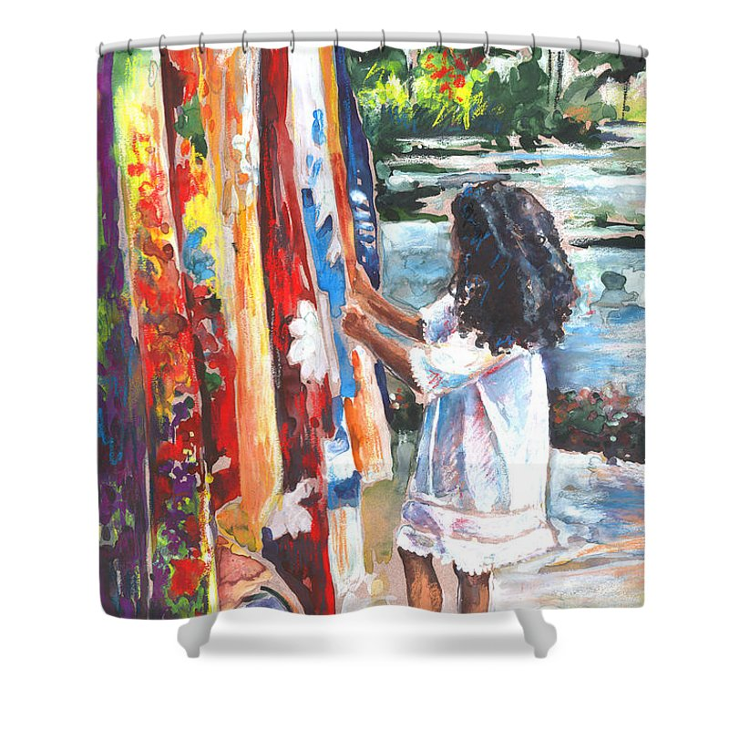 Travel Shower Curtain featuring the painting Tahitian Girl With Pareos by Miki De Goodaboom