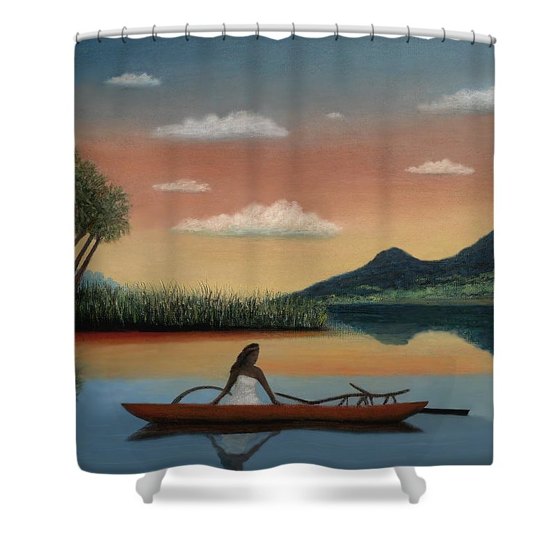 Tahiti Shower Curtain featuring the painting Tahitian Morning by Gordon Beck