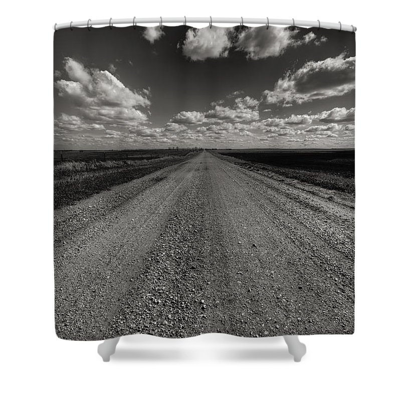 Suth Dakota Shower Curtain featuring the photograph Take A Back Road Bnw Version by Aaron J Groen