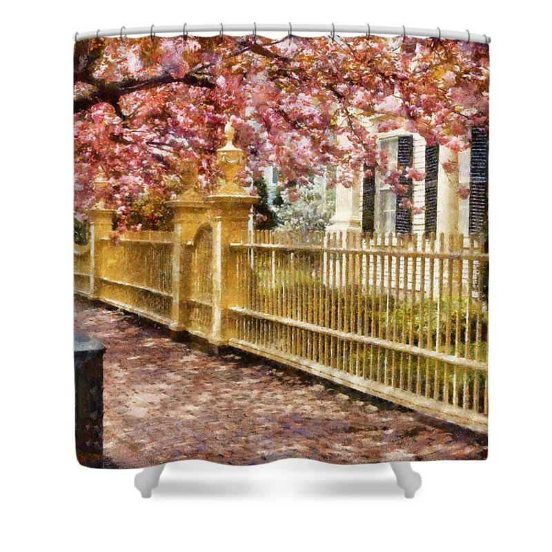 Salem Shower Curtain featuring the photograph Take A Walk Along Federal Street by Jeff Folger