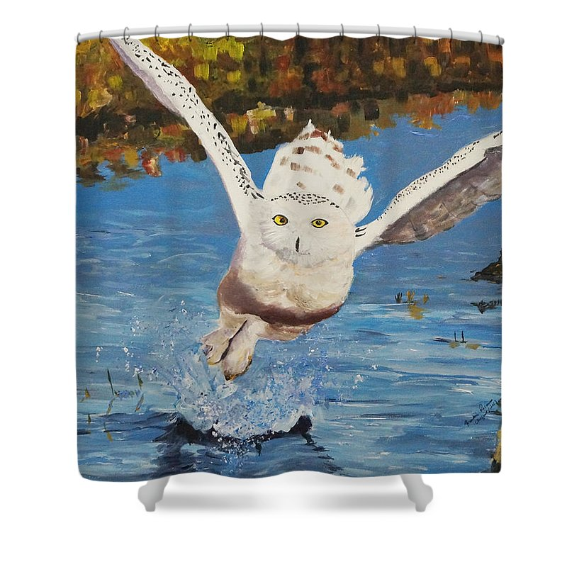 Owl Shower Curtain featuring the painting Take Off by Frankie Picasso