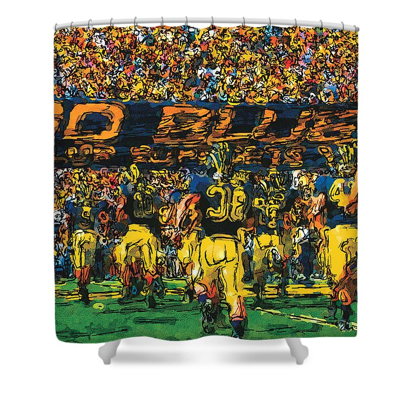 University Of Michigan Shower Curtain Featuring The Painting Take Field By John Farr