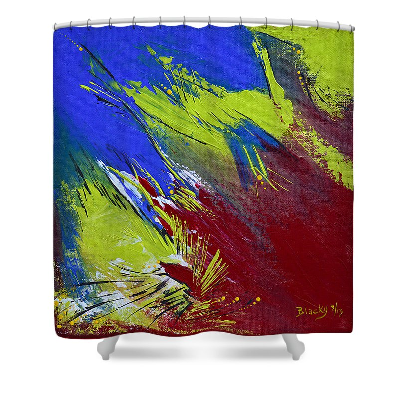 Bold Abstract Art Shower Curtain featuring the painting Taking Flight by Donna Blackhall