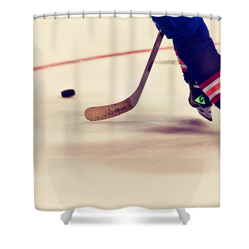Hockey Shower Curtain featuring the photograph Taking It In by Karol Livote