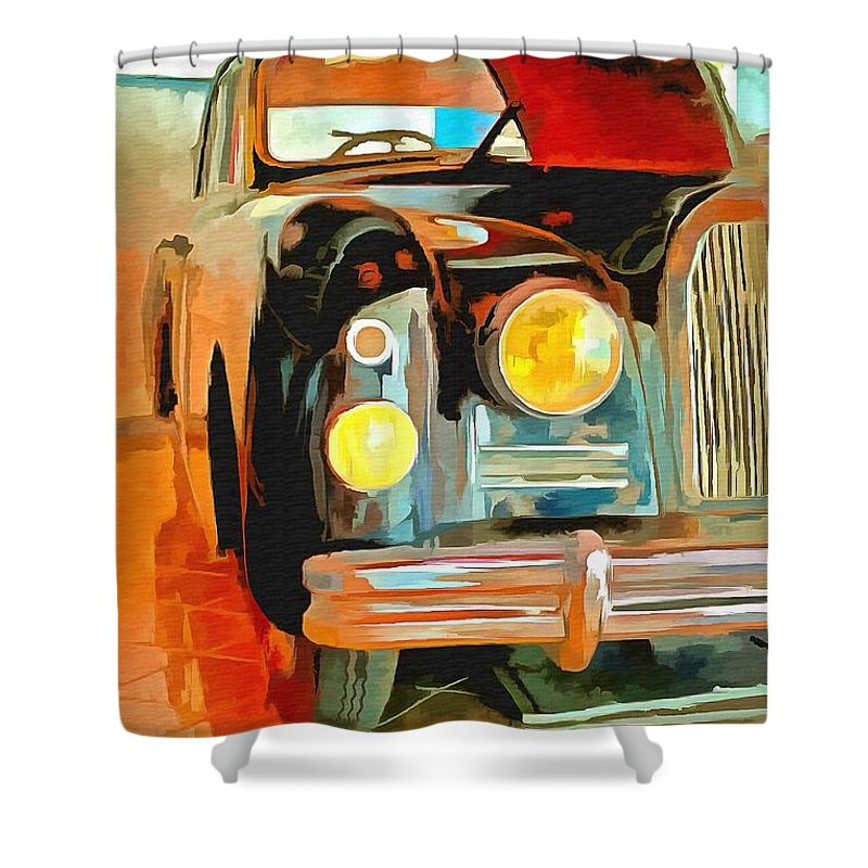 Talbot Lago T15 Ql6 Shower Curtain featuring the painting Talbot Lago T15 Ql6 by L Wright