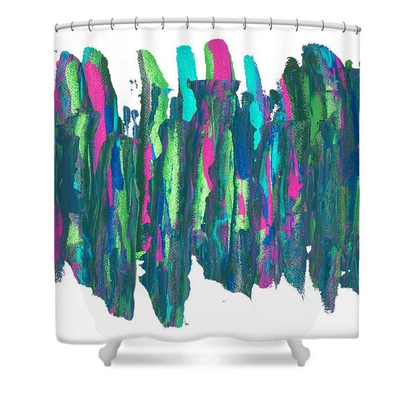 Abstract Shower Curtain featuring the painting Talking Walking by Bjorn Sjogren