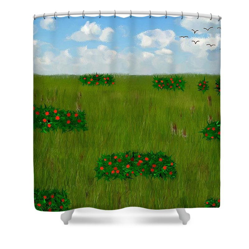 Grass Shower Curtain featuring the painting Tall Grass Prairie National Reserve by Bruce Nutting